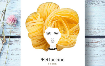 Whimsical Concept Packaging That Uses Pasta to Form The Shape of Fabulous Hairstyles